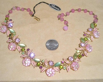 Vintage Rare Signed Florenza Necklace Choker With Pink Glass Flowers Rhinestones Enamel 1950's Jewelry 6083