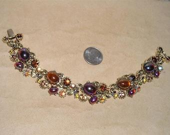 Vintage Signed Lisner Rhinestone And Glass Cabochon Bracelet 1960's Jewelry 1051
