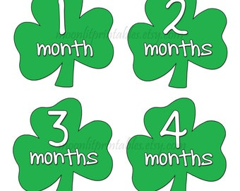 Shamrock Baby Stickers, Green Shamrock Stickers, Monthly Baby Stickers, Irish Baby Photo Props, Month to Month (586)