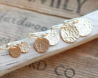 HAMMERED GOLD EARRINGS Dangle | Gold Filled Earrings | Womens Gift for Her | Bridesmaid Gifts | Handmade Jewelry by Mango Jewels | gold disc