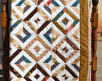 "Strip Patchwork Lap Quilt ""Love Letters"" by Laundry Basket for Moda"