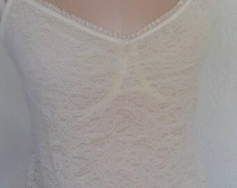 Sheer Lace Bustier Bra Longline Vintage Wacoal Size 36 B/C