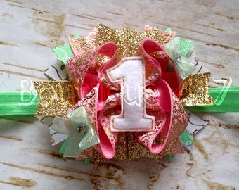 First 1st Birthday hair bow clip or headband light pink gold mint