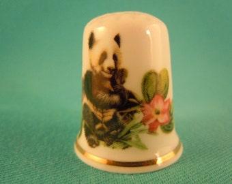 Thimble Bone China with Panda and Flowers