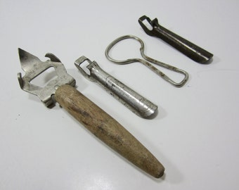 Vintage Bottle Opener Collection, Can Opener, Jar Opener  Anchor Caps Closure, ADE-Omatic-Co, Purity