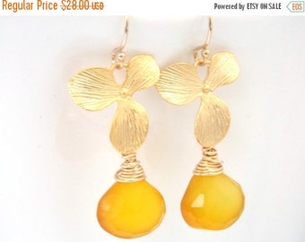 SALE Yellow Earrings, Chalcedony Earrings, Gold Orchid Earrings, Flower, Citrine, Gold Filled Earrings, Bridesmaid Gifts, Bridesmaid Earring