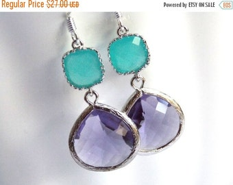 SALE Glass Earrings, Purple Earrings, Silver Earrings, Mint, Turquoise, Blue, Aqua, Bridesmaid Earrings, Bridal Earrings, Bridesmaid Gifts