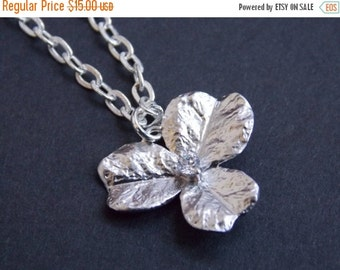 SALE Flower Necklace, Silver Necklace, Silver Flower Necklace, Flower Pendant, Zirconia, Orchid Necklace, Bridesmaid Necklace, Bridesmaid Gi