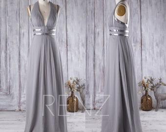 2016 Light Gray Bridesmaid Dress with Silver Belt, V Neck Wedding Dress, Long Maxi Dress, Backless Halter Prom Dress Floor Length (J065)