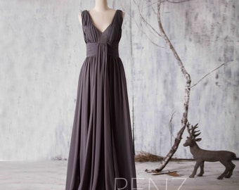 2016 Charcoal Grey Bridesmaid dress, Strapless Women Wedding dress, V neck Party dress, Formal dress, Long Evening dress floor length (F117)