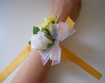 Ivory and Yellow Roses Wrist Corsage with Rhinestone Accent