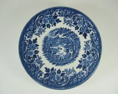 Vintage CASTLE SAUCER Set/6 Fishing Blue TRANSFERWARE Churchill Staffordshire England