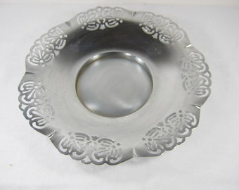 Vintage CHROME BOWL Compote Tray Open Lacey Rim Chromium Cromwell Silver Co