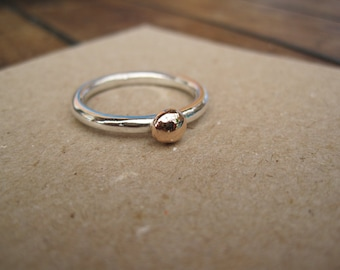 Sterling Silver with 9ct rose gold blob Stacking Ring - Made to Order