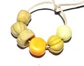 Ceramic Bead Set Stoneware Handmade Pottery Beads Lemon