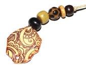 Ceramic Bead Set & Pendant Stoneware Handmade Pottery Beads Paisley Brown Black