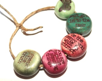 Ceramic Word Quote Bead Set Affirmation Positivity Colourful Colorful Jewel