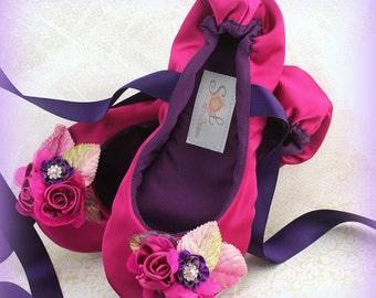 Fuchsia Girl Flats, Pink, Purple, Plum, Lilac, Ballet Flats,Flower Girl,Quinceanera,Prom,Bat Mitzvah,Ballerina Slippers,Lace Up,Elegant