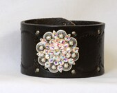 Womens Black Leather cuff bracelet, leather cuff bracelet, Jeweled Concho , Size medium 6.25-6.75 wrist,  leather Jewelry