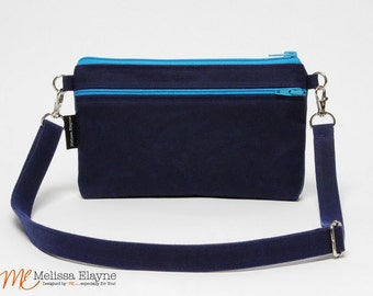 Waxed Canvas EDC Crossbody Purse, iPhone 6 Plus Otterbox Cross Body Bag -Large -Handmade
