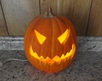 Vintage Lighted Jack O Lantern  / Halloween Decor / Electric Pumpkin / Foam Mold