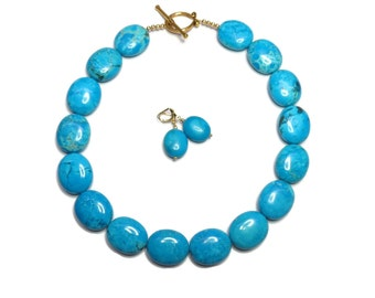 Bridesmaid Necklace - Turquoise Necklace Chunky Statement Necklace Jewelry Malibu Blue Chunky Blue Scuba Blue Jewelry Set -