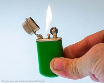 Working 1910s German Okima Pocket Lighter With Original Green Finish
