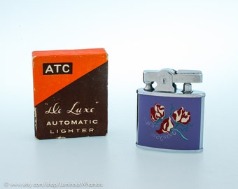Working Vintage ATC Automatic Pocket Lighter With Floral Enamel Finish - MIB