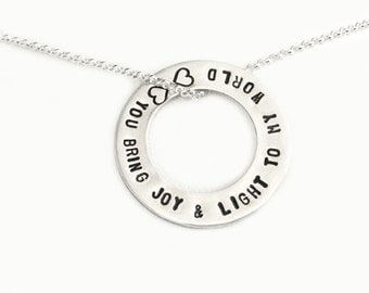 You Bring Joy & Light To My World Sterling Silver Hand Stamped Washer Silver Jewelry