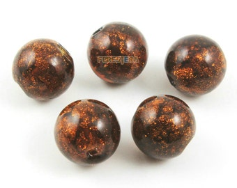 12mm Gold Foil Glass Bead Dark Brown Glass Bead for Jewelry (BEAD-A14-12-08)