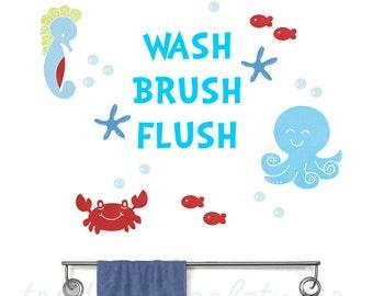 Bathroom Kids Rules Reusable Fabric Decals - Sealife Bath Wall Stickers - Boys Bath Decor - Octopus Bathroom Decals - Brush Flush Wash