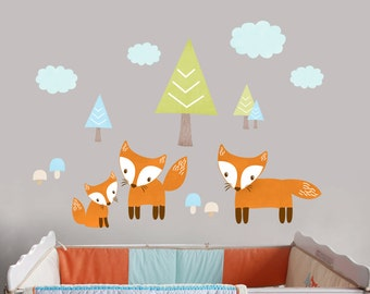 Fox Wall Decal, Peel and Stick Fox Decal, Reusable Fabric Woodland Trails Decals, Forest Tree Cloud Decal, Forest Playroom, Boys Fox Nursery