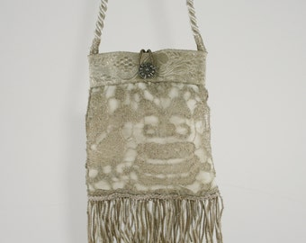 Sweet Bridal Handbag Made From Antique Silver Lace