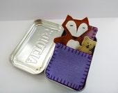 felt fox in tin - Fox in a Box™ w/ purple bedding - wool felt fox & teddy bear in Altoids Tin - travel toy - purse toy - ready to ship
