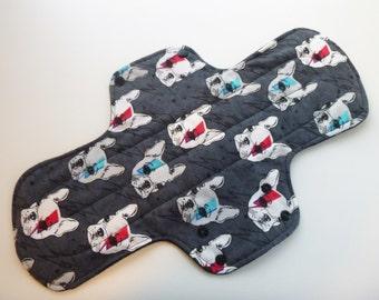 postpartum cloth pad - overnight cloth pad - heavy flow 14 inch cloth pad - mama cloth - mama pad - pop art bulldogs flannel top - in stock