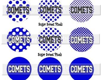 INSTANT DOWNLOAD Comets Blue Black  School Mascot Polka dot  1 inch Circle Bottle cap Images