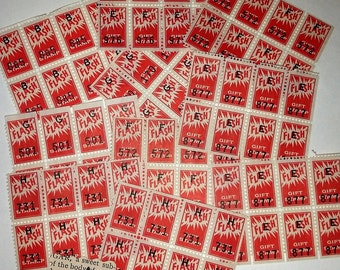 A Vintage paper supplies Flash savings trading stamps 80 red color 10 pieces sheets of 8 scrapbook altered art