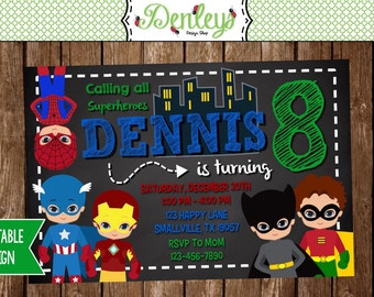 Superheroes Birthday Invitation (SH02)