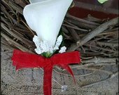 White Calla Lily Boutonniere red Groom groomsman bridal silk real touch wedding flowers father grandfather prom keepsake flowers