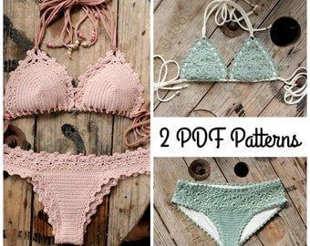 2 PDF, Crochet PATTERNS, Lorelei Bikini Pattern and Doris Lingerie Bikini Pattern, Sizes XS-L