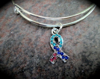 Thyroid Cancer Awareness Adjustable Bangle bracelet or necklace with Teal Pink and Royal Blue Rhinestone Ribbon charm