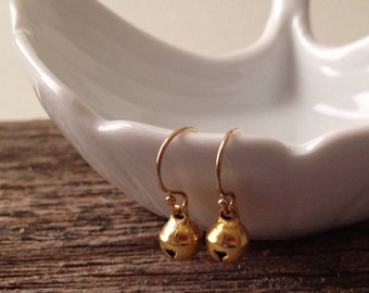 Gold Bell Earrings -Jingle Bell Earrings -Christmas Earrings -Bell Earrings