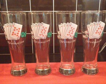 Casino Night Party hand painted pilsner glasses.