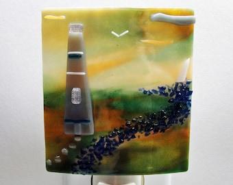 Fused Glass Night Light Home Decor Lighting Fixture Beach Ocean Glass Lighthouse Seaside Oceanside Green Gray Blue Gifts Under 50 Dollars