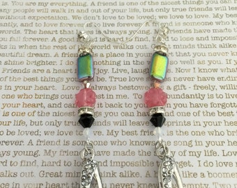 High Heel Shoe Earrings Made With Czech Beads In Pink and Black Perfect For Shoe Lovers Fashionistas Foot Fetish Bridesmaid Jewelry