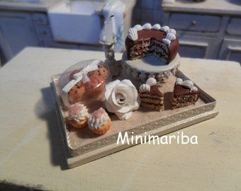Miniature dollhouse tray with sweets and rose 1/12 scale