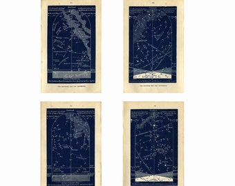 1882  September Stars Maps Set of Four Astronomy Prints, Constellations Northern Hemisphere