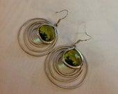 Silver Circle Green Drop Earrings