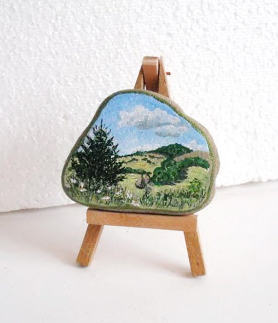 Hand Painted Stone. inspirational pine tree forest. River rock Artwork Home Garden Decor.