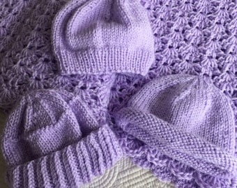 """Soft and Cozy Baby Afghan and 3 Hats in """"Lavender"""", Lavender Crochet Baby Afghan, Crochet Baby Blanket, Gift for Baby, Knit Hat"""